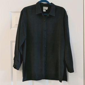 Raw silk oversized button down shirt long sleeve